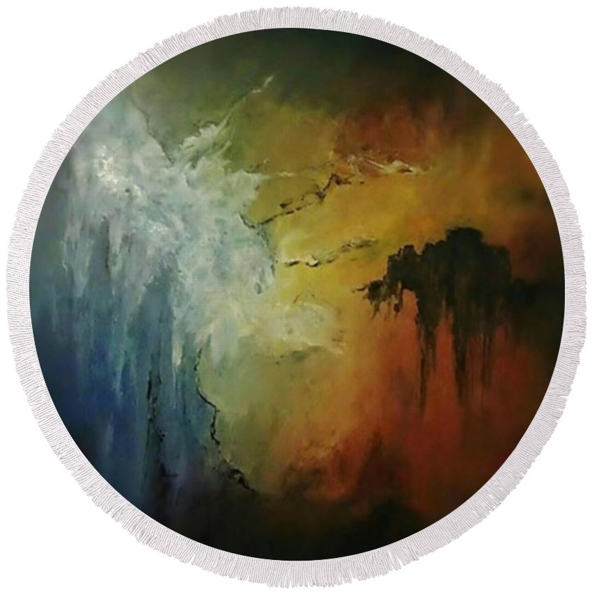 Acrylic Round Beach Towel featuring the painting Overhang by John Cocoris