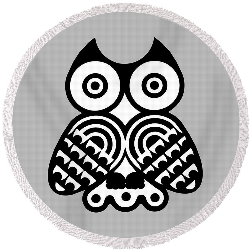 Animal Round Beach Towel featuring the digital art Owl by Frederick Holiday