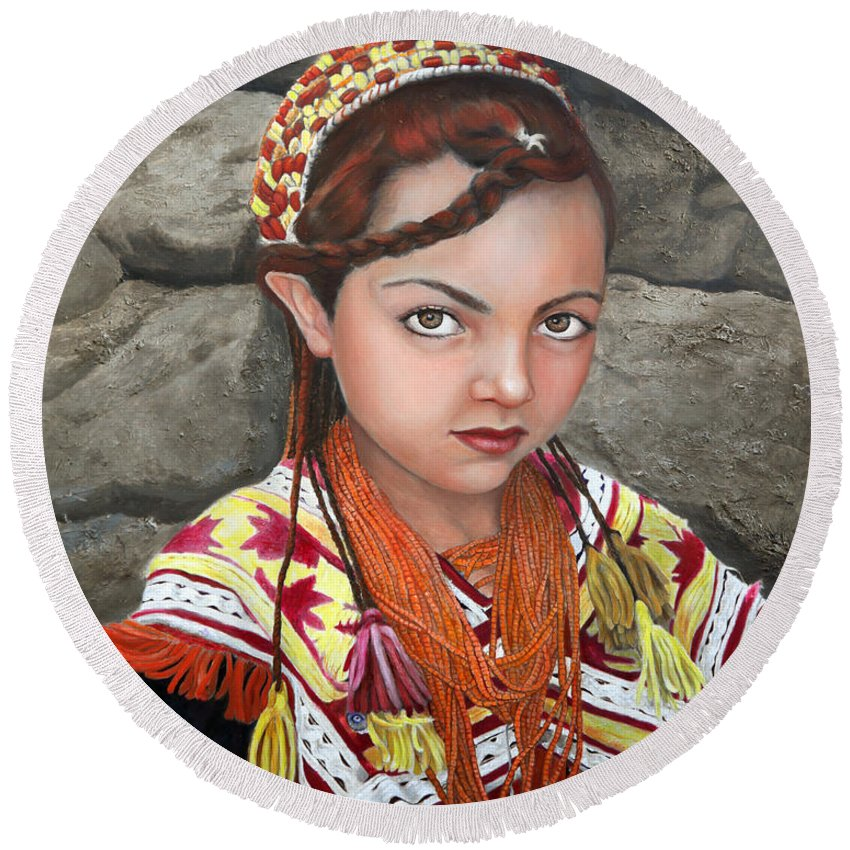 Figurative Art Round Beach Towel featuring the painting Pakistani Girl by Portraits By NC