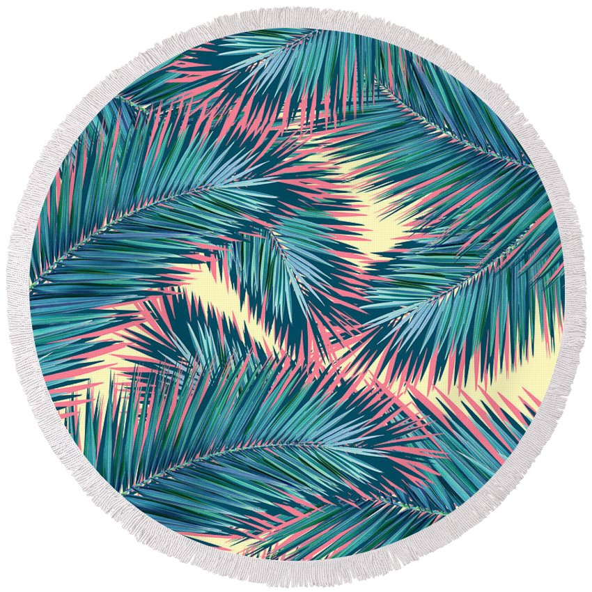 Summer Round Beach Towel featuring the digital art Palm Trees by Mark Ashkenazi