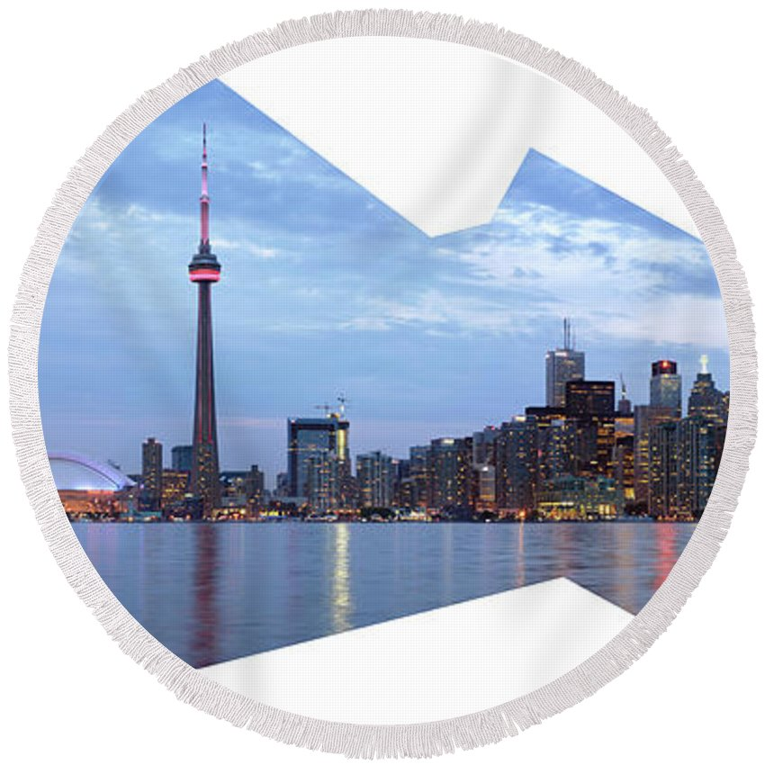 Toronto Round Beach Towel featuring the photograph Panorama Of The City Of Toronto by Maxim Images Prints