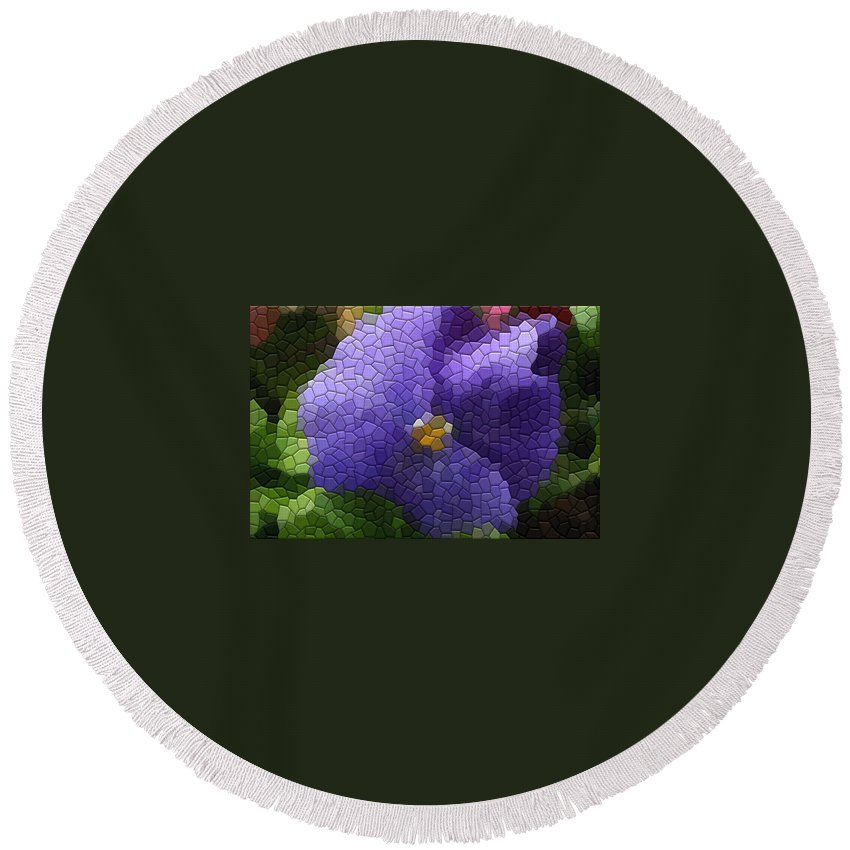 Pansy Round Beach Towel featuring the photograph Pansies by Kathryn Meyer