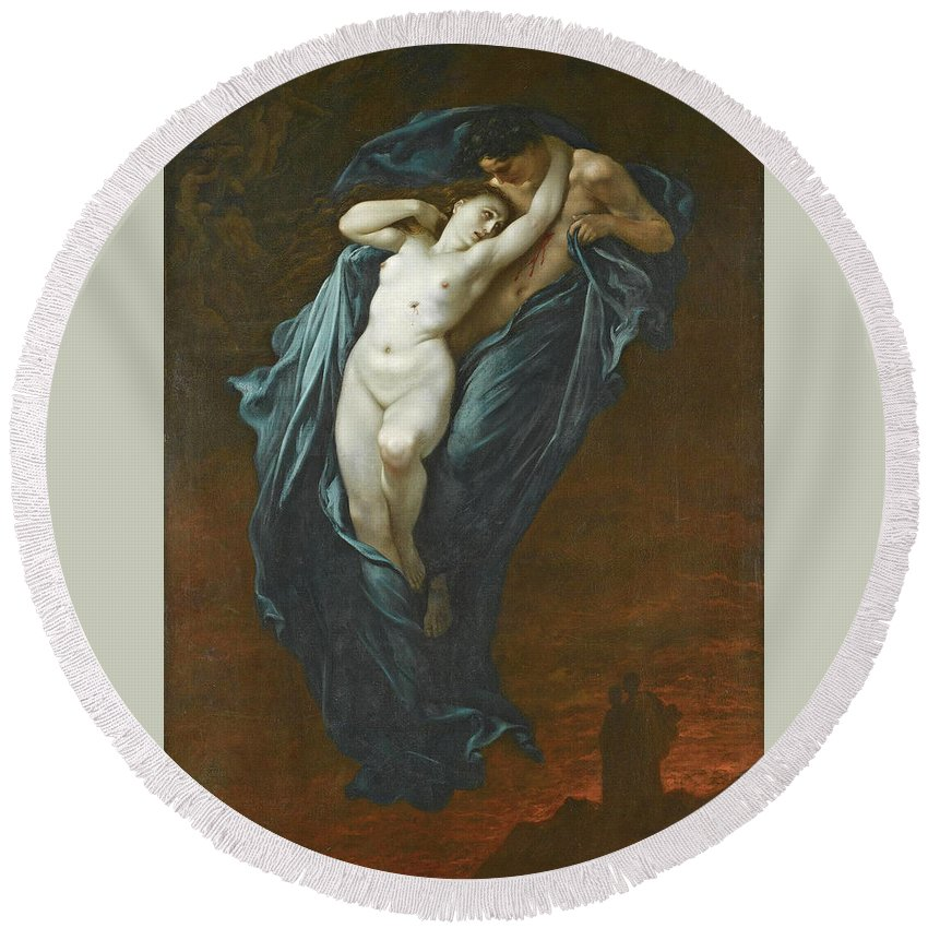 Gustave Dore Round Beach Towel featuring the painting Paolo And Francesca Da Rimini by Gustave Dore