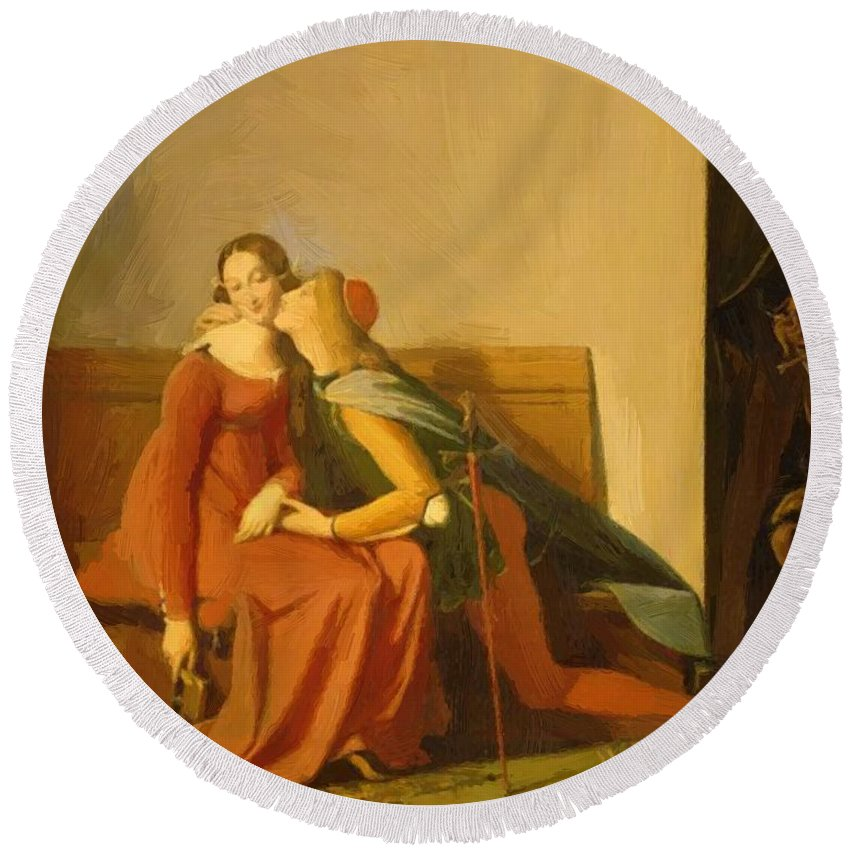 Paolo Round Beach Towel featuring the painting Paolo And Francesca by Ingres Jean Auguste Dominique