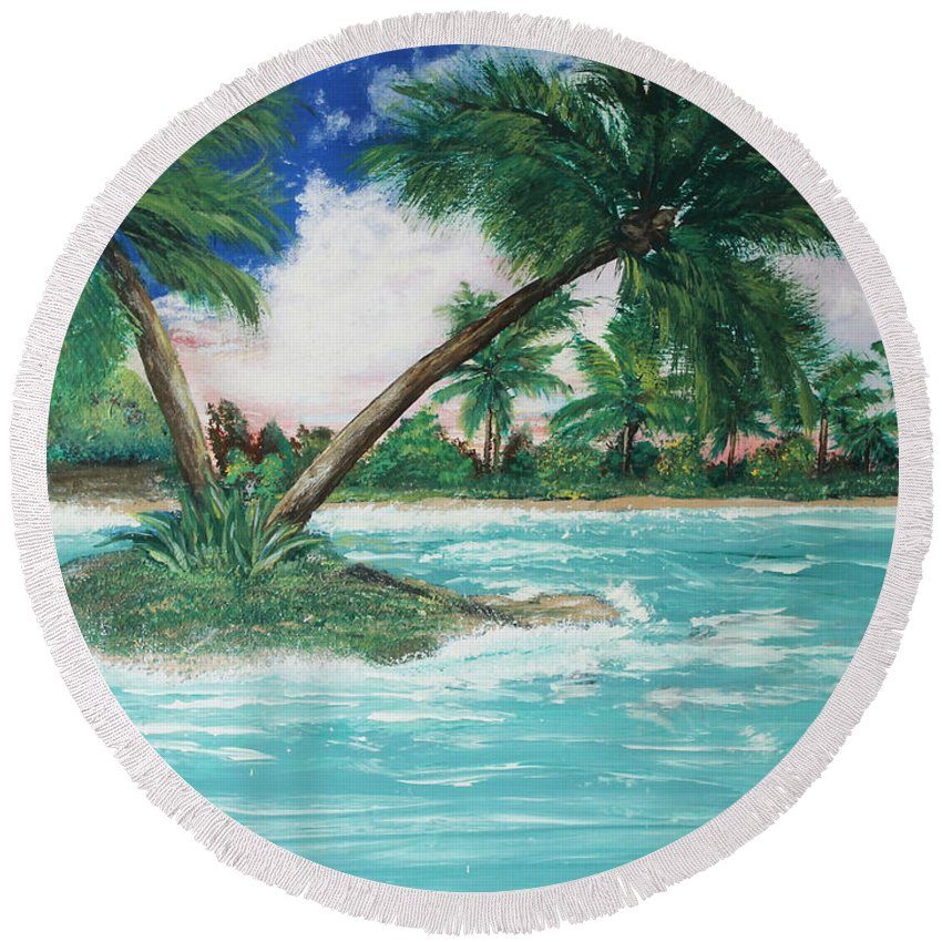 Island Round Beach Towel featuring the painting Paradise Island by Debbie Levene