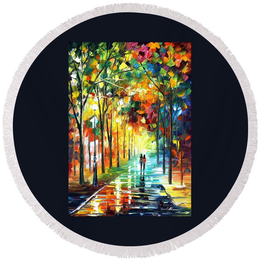 Landscape Round Beach Towel featuring the painting Park by Leonid Afremov