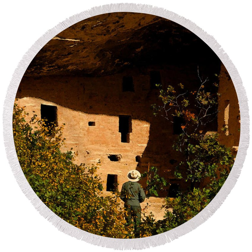 Mesa Verde National Park Colorado Round Beach Towel featuring the painting Park Ranger by David Lee Thompson