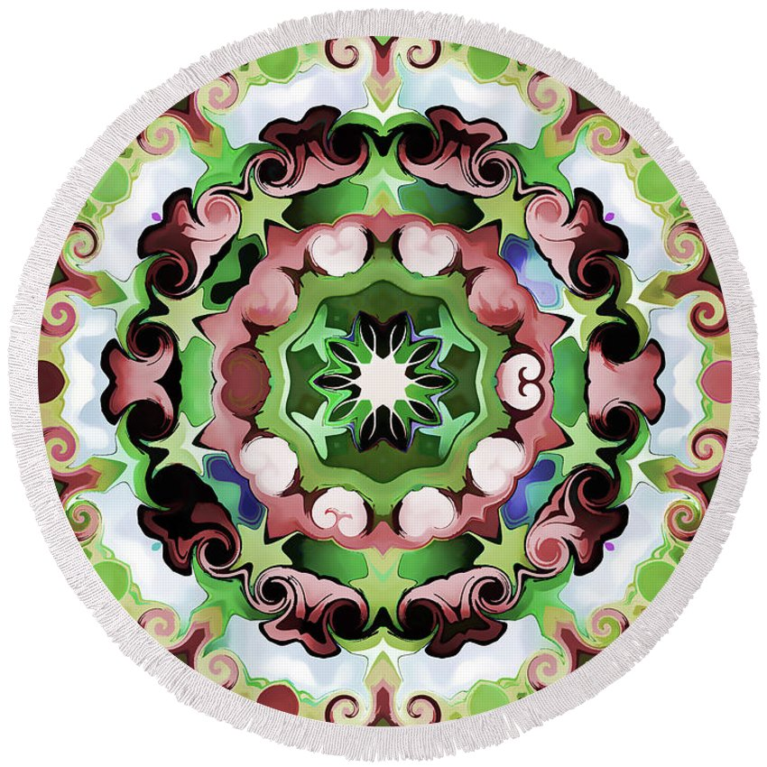 Mandala Art Round Beach Towel featuring the painting Passion by Jeelan Clark