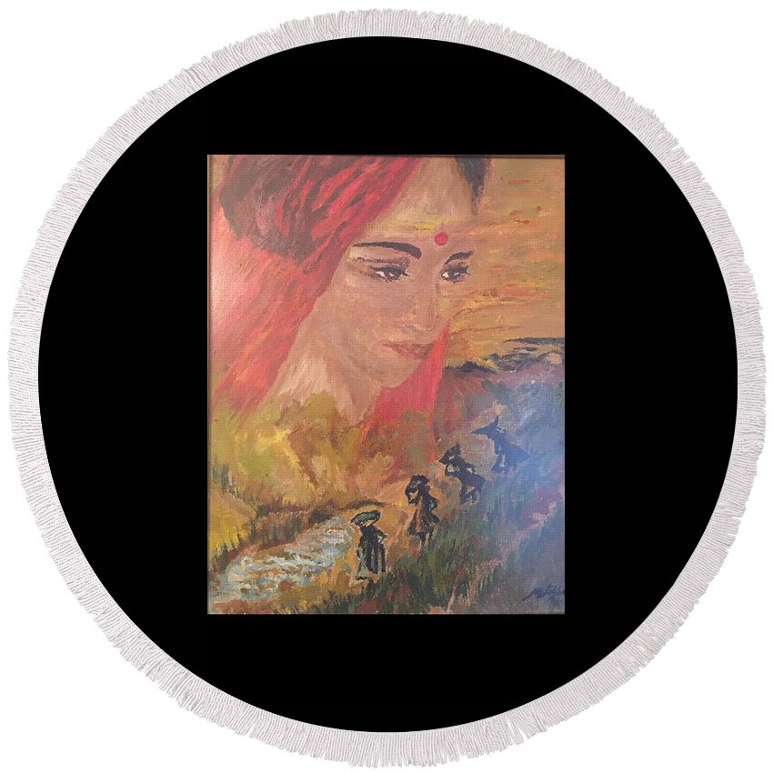 Round Beach Towel featuring the painting Past Life by Mishika Jaswal