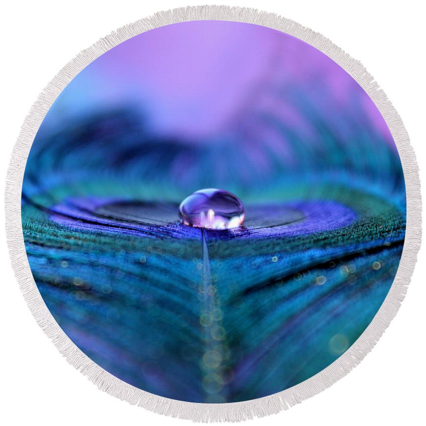 Peacock Feather Round Beach Towel featuring the photograph Patience by Krissy Katsimbras