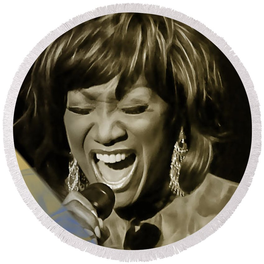 Patti Labelle Round Beach Towel featuring the mixed media Patti Labelle Collection by Marvin Blaine