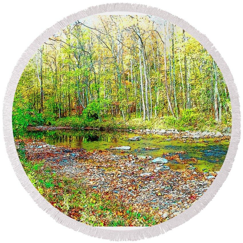 Fairmount Round Beach Towel featuring the digital art Pennsylvania Stream In Autumn, Digital Art by A Gurmankin