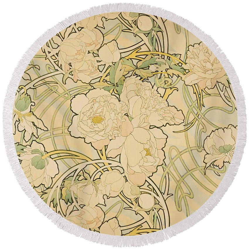 Alfons Mucha Round Beach Towel featuring the drawing Peonies by Alfons Mucha