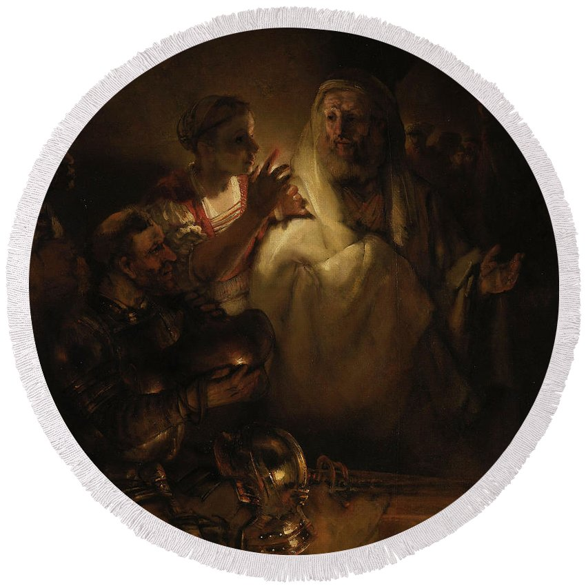 Baroque Round Beach Towel featuring the painting Peter's Denial by Rembrandt van Rijn