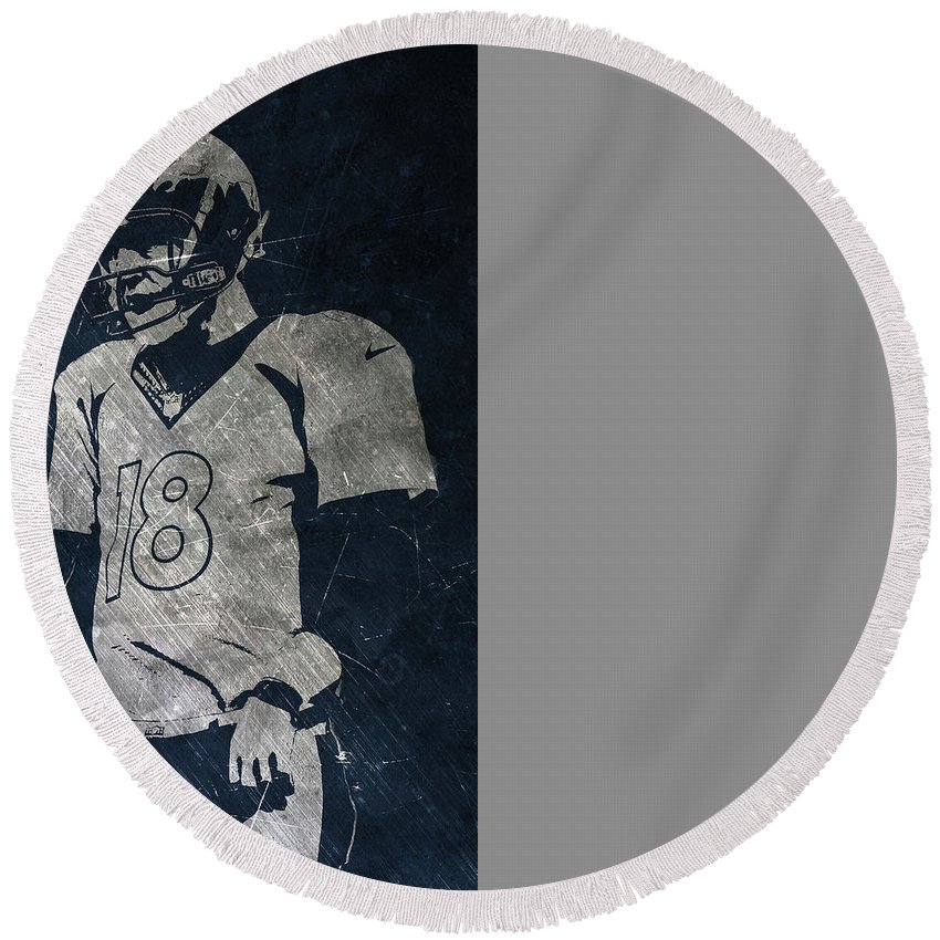 Broncos Round Beach Towel featuring the photograph Peyton Manning Broncos by Joe Hamilton