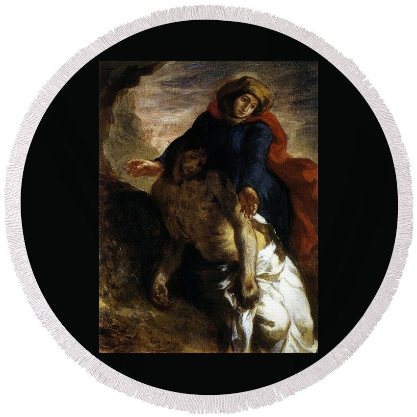 Christ Round Beach Towel featuring the painting Pieta by Eugene Delacroix