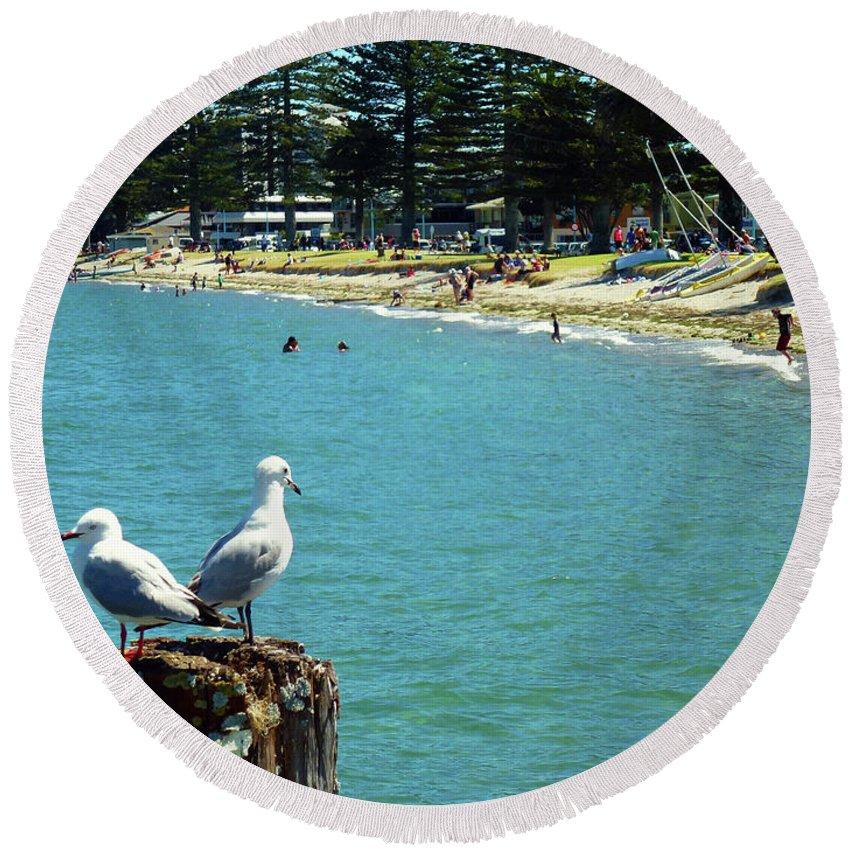 Pilot Bay Round Beach Towel featuring the photograph Pilot Bay Beach 4 - Mount Maunganui Tauranga New Zealand by Selena Boron