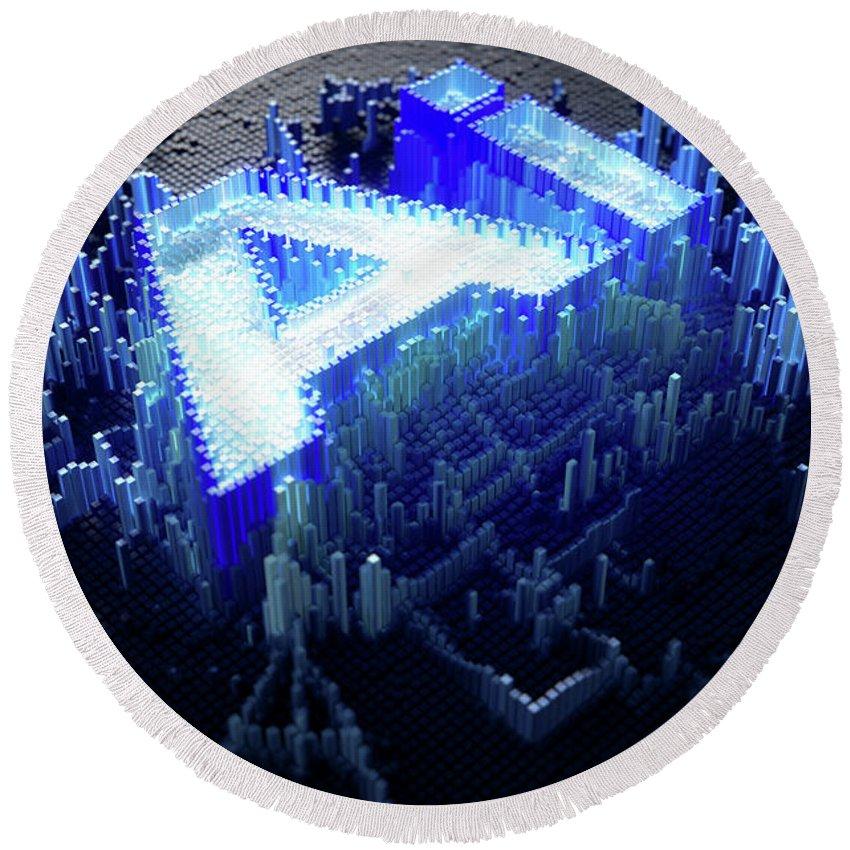 Artificial Intelligence Round Beach Towel featuring the digital art Pixel Artificial Intelligence by Allan Swart