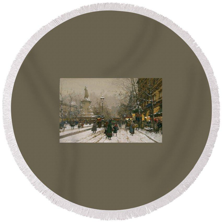 Eugène Galien-laloue (1854-1941)-'place De La Republique In Winter' Round Beach Towel featuring the painting Place De La Republique In Winter by MotionAge Designs