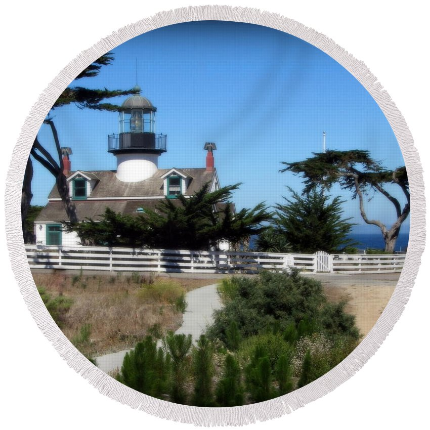 Lighthouse Round Beach Towel featuring the photograph Point Pinos Lighthouse In Pacific Grove, California by Joy Patzner