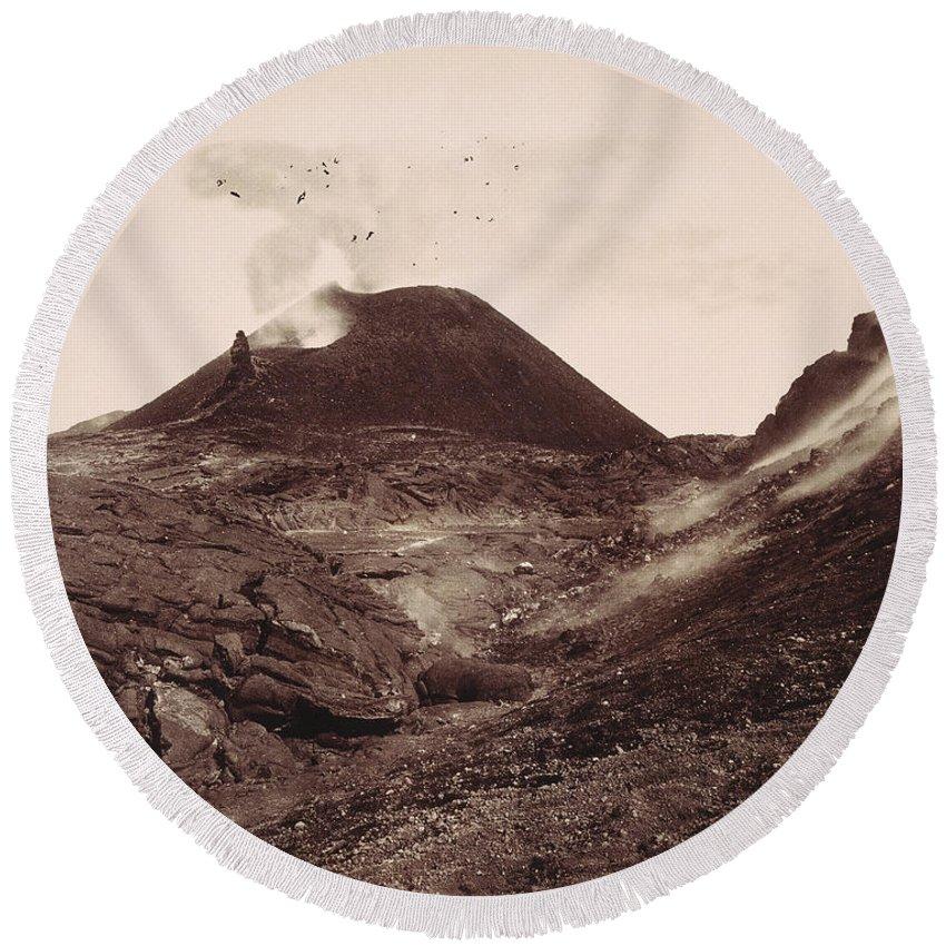 1880 Round Beach Towel featuring the photograph Pompeii, Mt Vesuvius by Granger