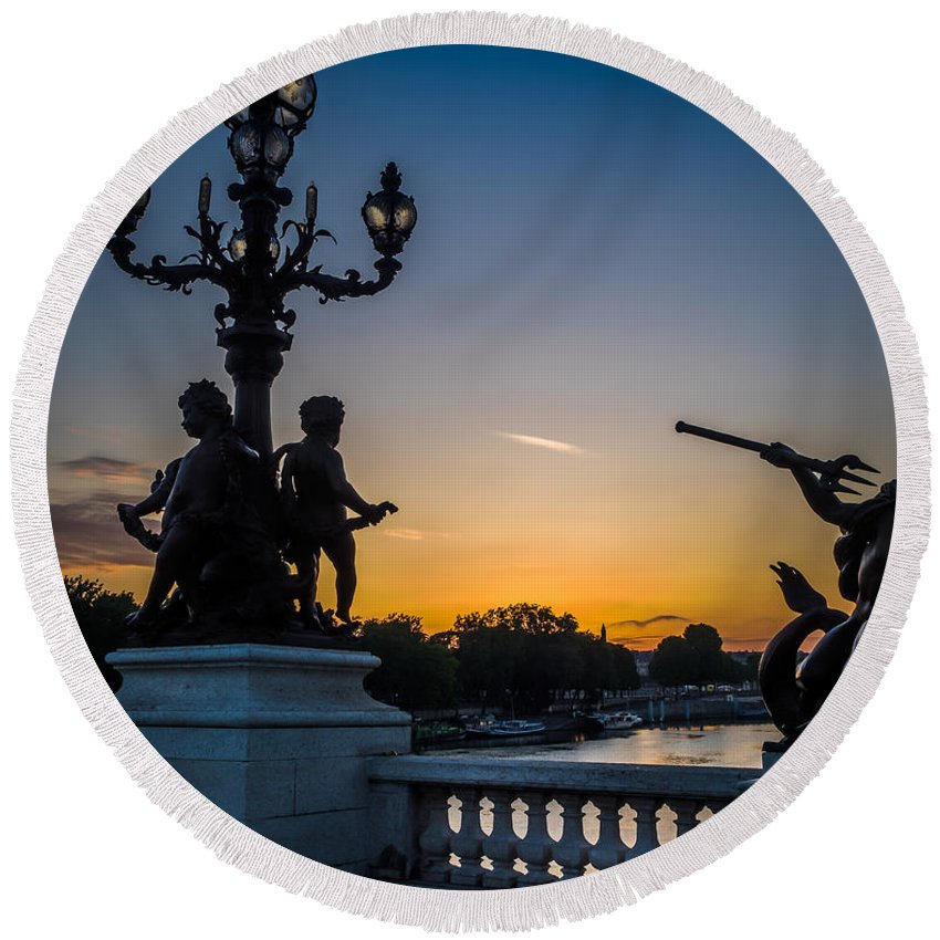 France Round Beach Towel featuring the photograph Pont Alexandre IIi by Mark Llewellyn