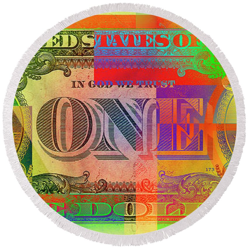 �visual Art Pop� By Serge Averbukh Round Beach Towel featuring the photograph Pop-Art Colorized One U. S. Dollar Bill Reverse by Serge Averbukh