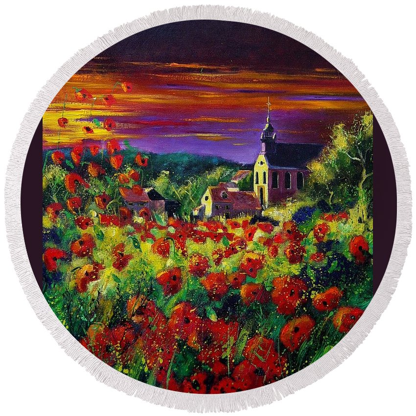 Flowers Round Beach Towel featuring the painting Poppies In Foy by Pol Ledent