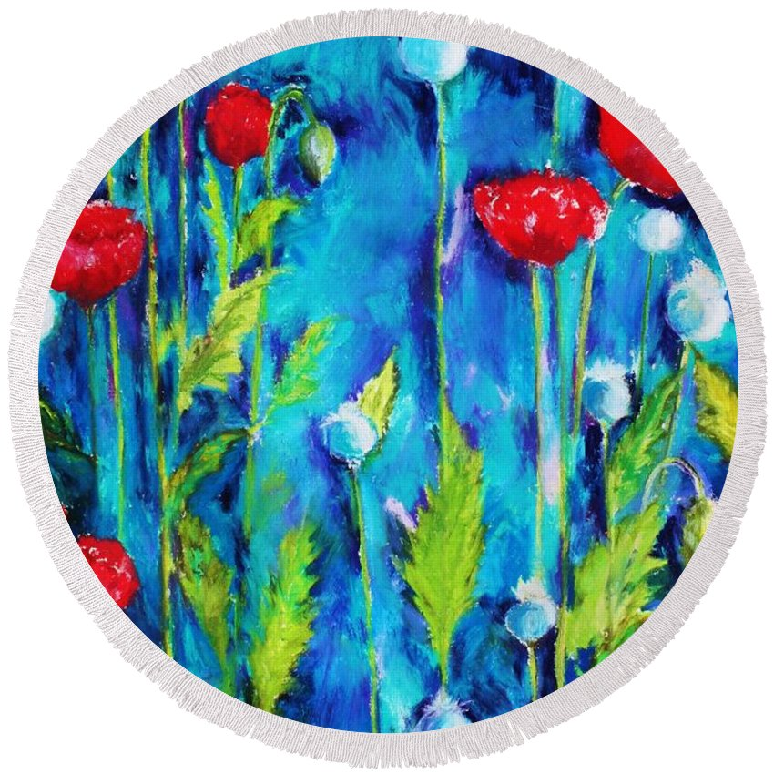 Poppies Round Beach Towel featuring the painting Poppies by Melinda Etzold