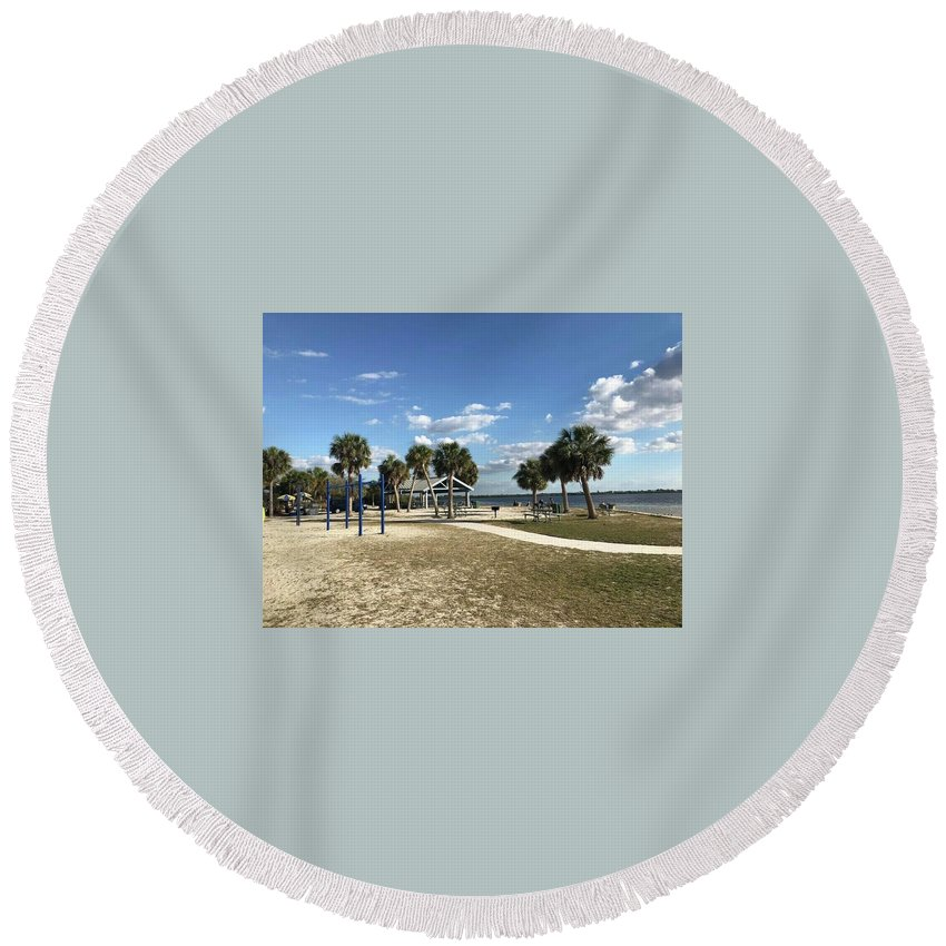 Round Beach Towel featuring the photograph Port Richey, Florida by Jordan Meleski