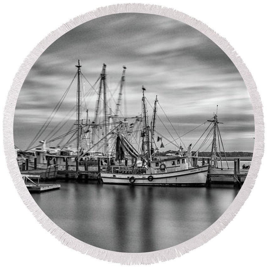 Seascape Round Beach Towel featuring the photograph Port Royal Shrimp Boats by Steven Greenbaum