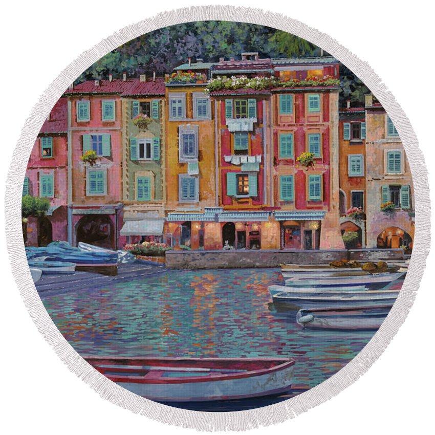 Portofino Round Beach Towel featuring the painting Portofino Al Crepuscolo by Guido Borelli