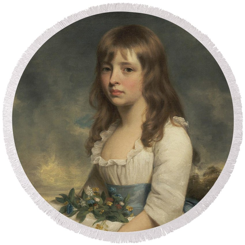 William Beechey Round Beach Towel featuring the painting Portrait Of A Girl by William Beechey