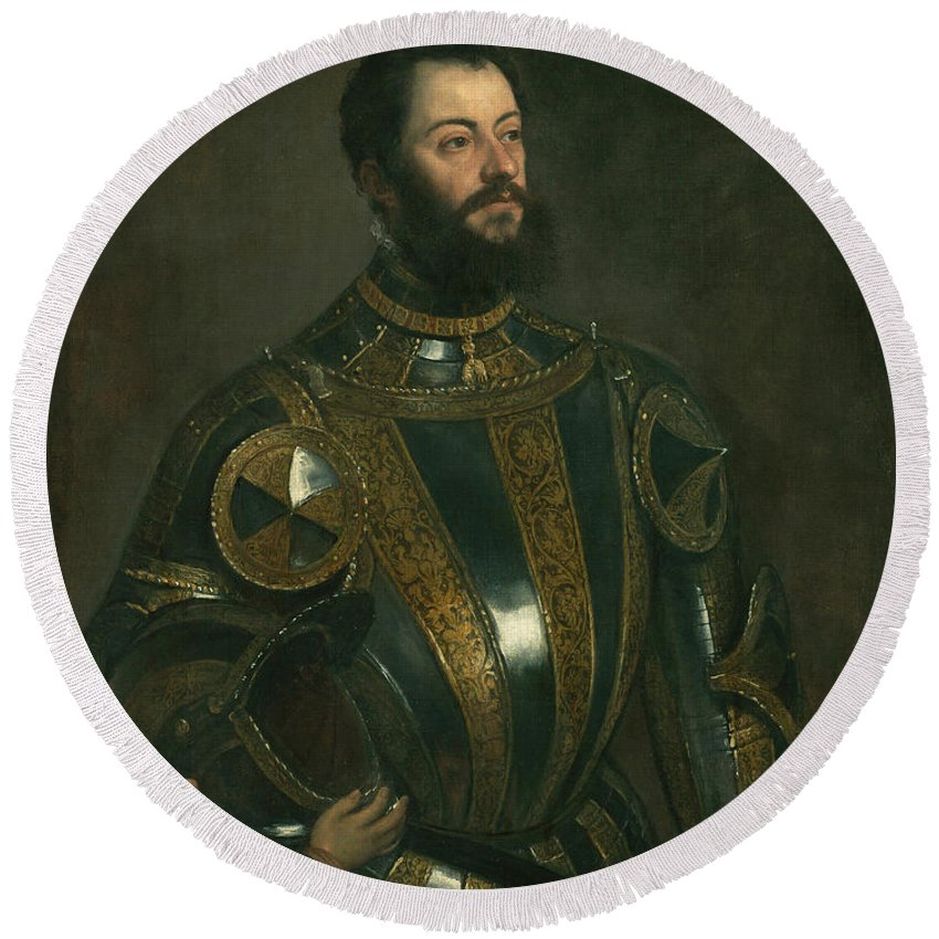 Titian Round Beach Towel featuring the painting Portrait Of Alfonso D'avalos Marquis Of Vasto In Armor With A Page by Titian
