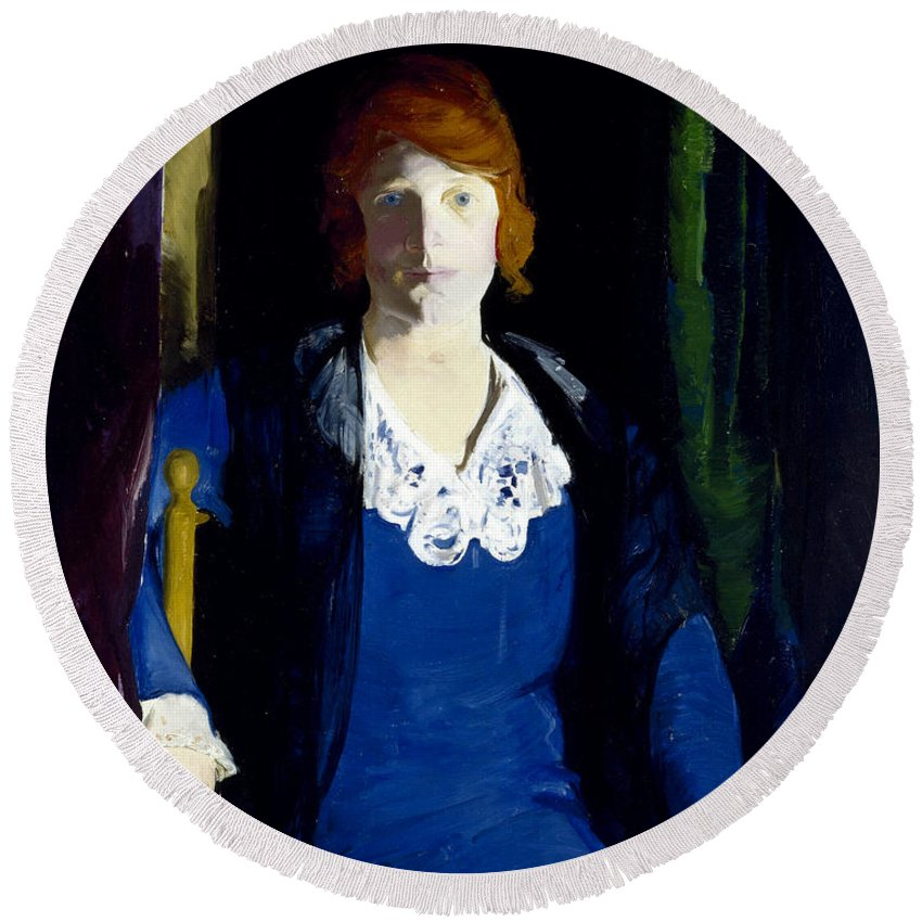 George Bellows Round Beach Towel featuring the painting Portrait Of Florence Pierce by George Bellows