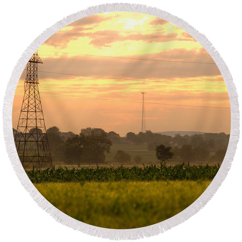 Lancaster Round Beach Towel featuring the photograph Power Lines by George Mattei