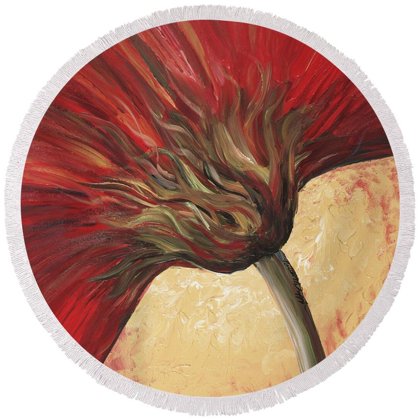 Floral Round Beach Towel featuring the painting Power Of Red by Nadine Rippelmeyer