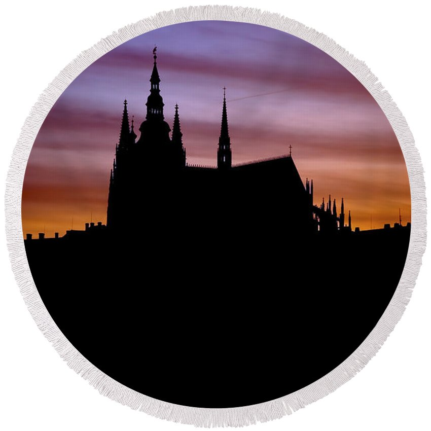 Hradcany Round Beach Towel featuring the photograph Prague Castle by Michal Boubin