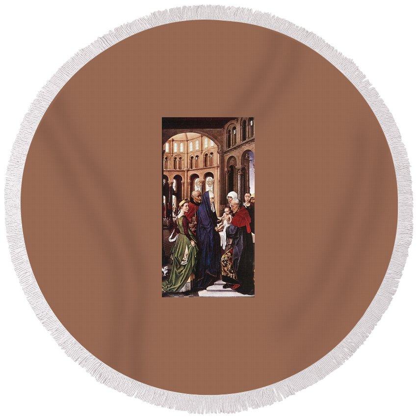 Metropolitan Round Beach Towel featuring the digital art Presentation Of Christ Wga Rogier Van Der Weyden by Eloisa Mannion