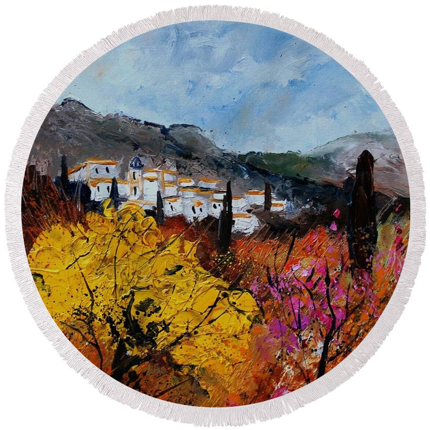 Provence Round Beach Towel featuring the painting Provence by Pol Ledent
