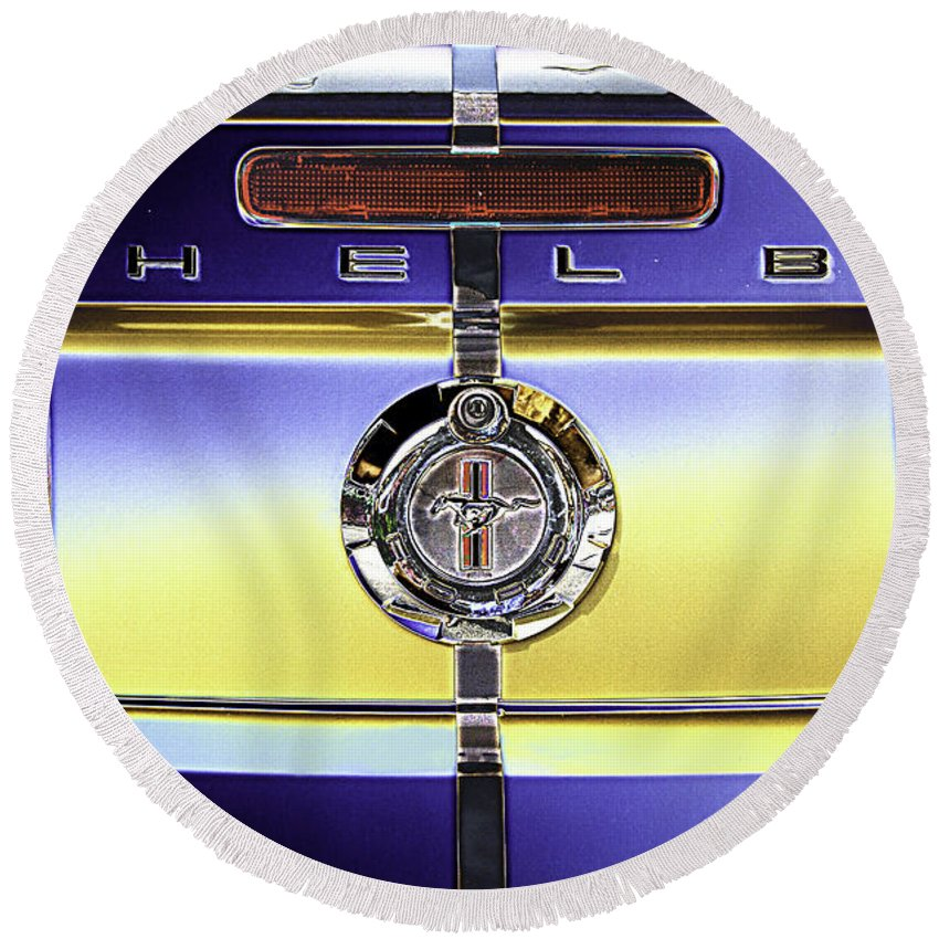 Psychedelic Round Beach Towel featuring the photograph Psychedelic Shelby Ford Mustang Trunk Lid And Badge 4 by Peter Lloyd