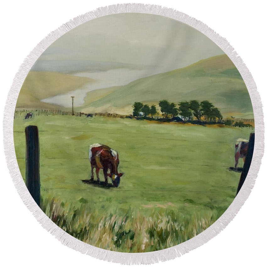 Landscape Round Beach Towel featuring the painting Pt. Reyes by Rick Nederlof