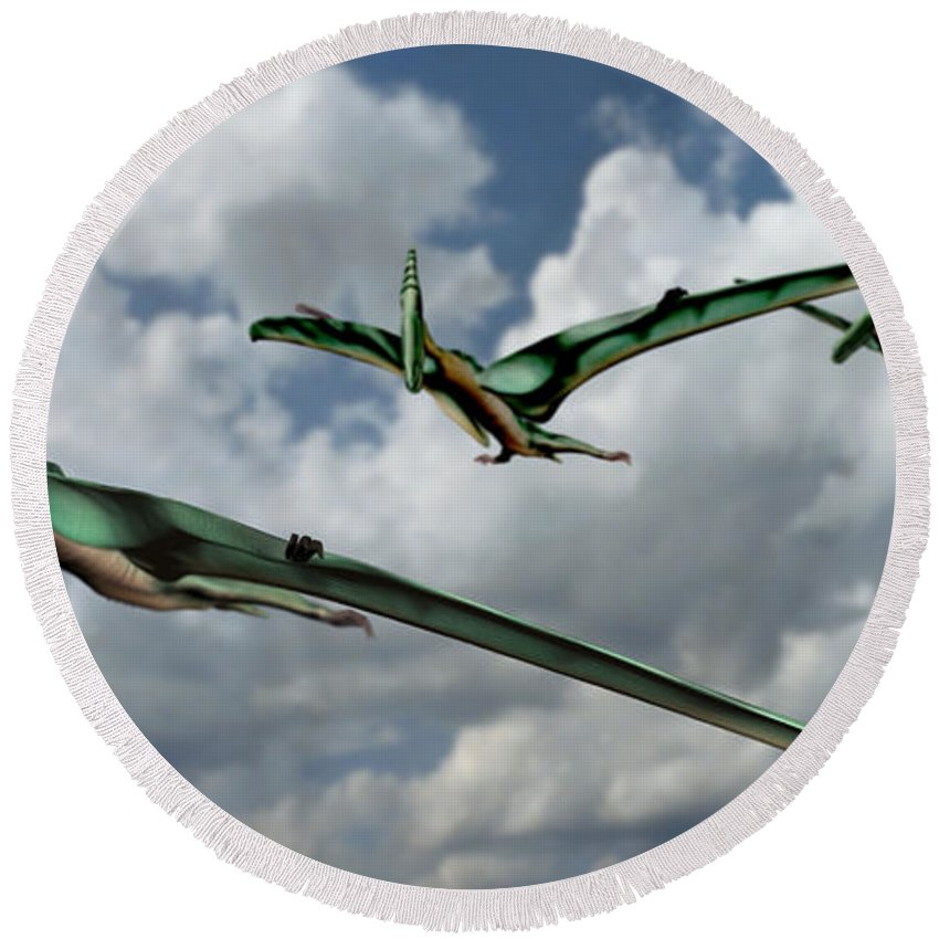 Pterodactyl Round Beach Towel featuring the photograph Pterodactyls In Flight by Spencer Sutton