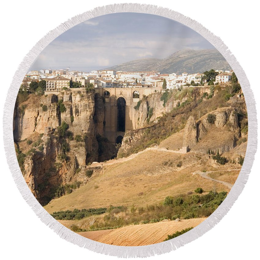 Ronda Round Beach Towel featuring the photograph Puente Nuevo Tajo De Ronda Andalucia Spain Europe by Mal Bray