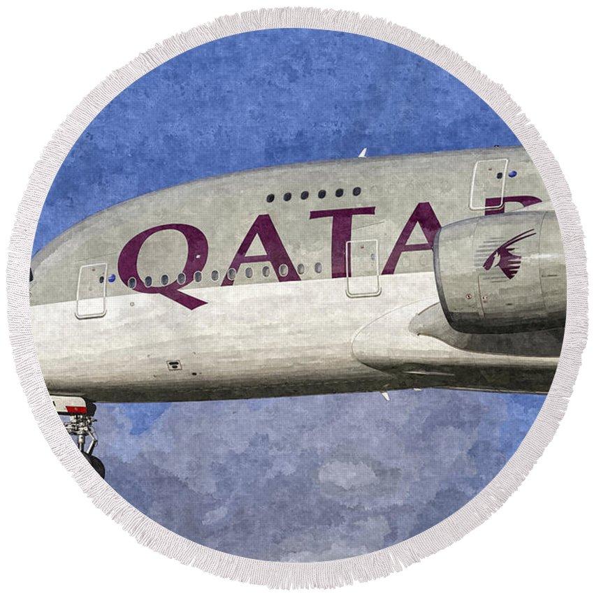 Qatar Airlines Round Beach Towel featuring the photograph Qatar Airlines Airbus A380 Art by David Pyatt