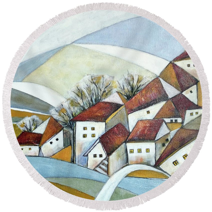 Abstract Round Beach Towel featuring the painting Quiet Village by Aniko Hencz