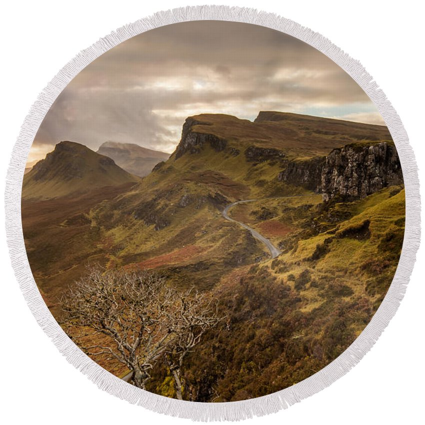Scotland Round Beach Towel featuring the photograph Quiraing Skye by Karl Thompson