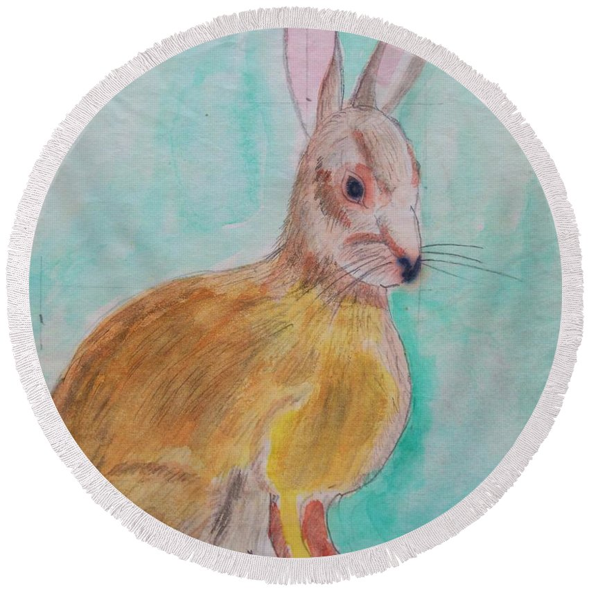Rabbit Round Beach Towel featuring the painting Rabbit Illustration by Eric Schiabor