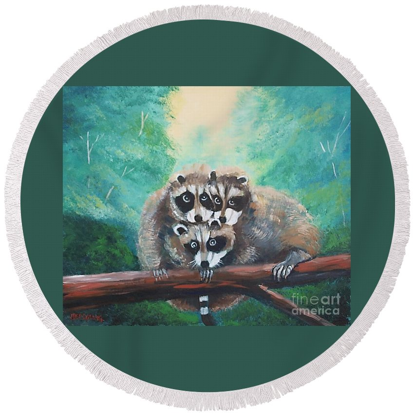 Racoons Round Beach Towel featuring the painting Racoons by Jean Pierre Bergoeing