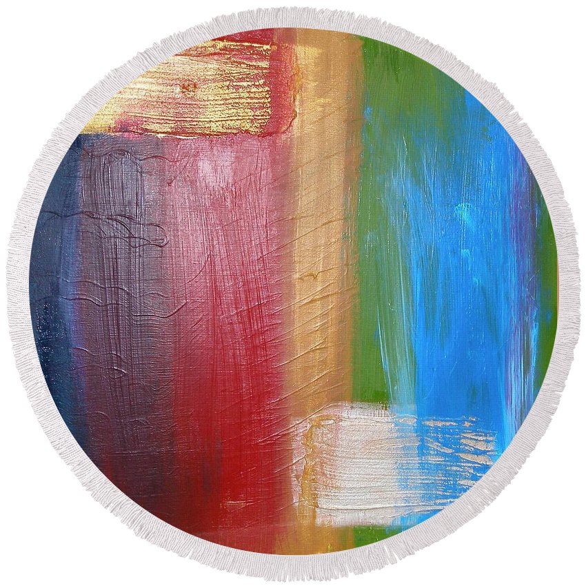 Rainbow Round Beach Towel featuring the painting Radiance by Maria Bonnier-Perez